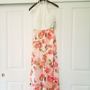 NWT| Floral lace halter maxi dress